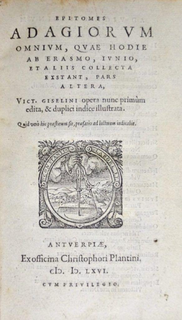 Erasmus – Epitomes Adagiorum omnium (1566)